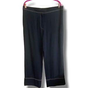 STELLA MCCARTNEY 100% SILK NAVY WIDE LEG PANTS 12